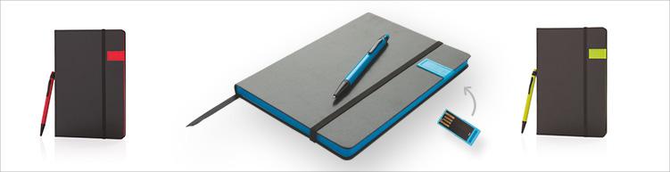 Notizbuch A5 mit Metall Usb Stick