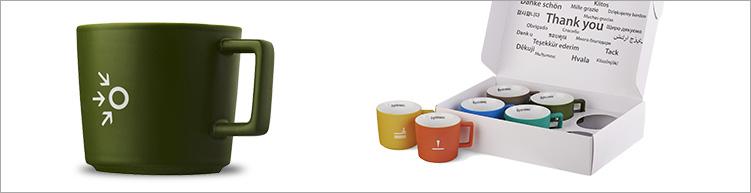 Keramik-Tassen-Set mit Kreamikgravur
